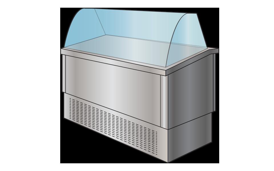 Επαγγελματικό Ψυγείο Βιτρίνα - Εξοπλισμός εστίασης Stock Inox