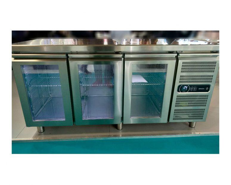 Ψυγείο Πάγκος Inox με Γυάλινες Πόρτες Ginox - Εξοπλισμός Καταστημάτων