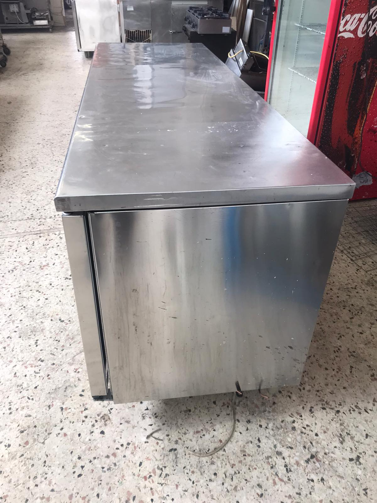 Ψυγείο πάγκος επαγγελματικό μεταχειρισμένο 220X70X85cm Ανοξείδωτο Χωρίς μηχανή
